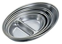 Stainless Steel 2 Division Oval Vegetable Dish 8