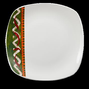 Churchill Salsa Square Plate (green/red border)  11 1/2