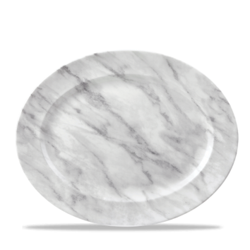 Churchill Textured Prints Grey Marble Oval Rimmed Dish 14 3/8