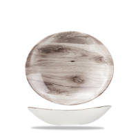 Churchill Textured Prints Sepia Wood Oval Coupe Bowl 10