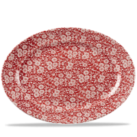 Churchill Vintage Prints Cranberry Victorian Calico Oval Dish 14 3/8