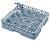 Genware 16 Compartment Glass Rack 500mm x 500mm with 2 Extenders