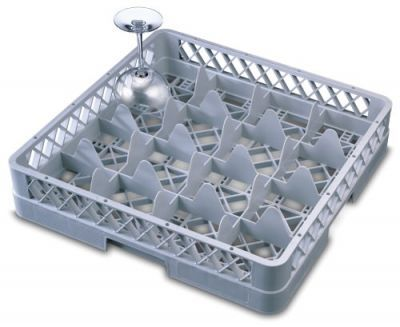 Genware 16 Compartment Glass Rack 500mm x 500mm