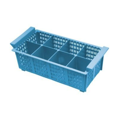 8 Compart Cutlery Basket (Blue) 430 x 210 x 155mm