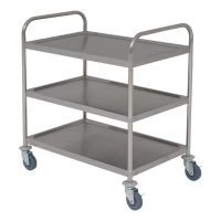 Flat Packed Stainless Steel Trolley 3 shelves