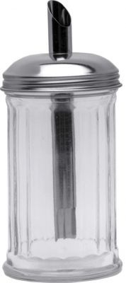 Clear Glass Sugar Pourer with Stainless Steel Tube Top