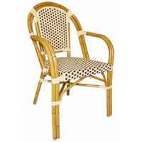 Bolero Continental Bistro Wicker Cream & Brown Armchair (pack of 4)