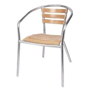 Bolero Stacking Ash & Aluminium Chair (pack of 4)